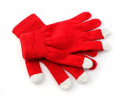 (FAPIZI Touch Screen Gloves Texting Winter Knit for Smartphone iphone I9300 (Red))