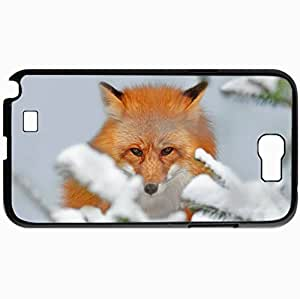 Personalized Protective Hardshell Back Hardcover For Samsung Note 2, Fox Snow Ears Nose Design In Black Case Color