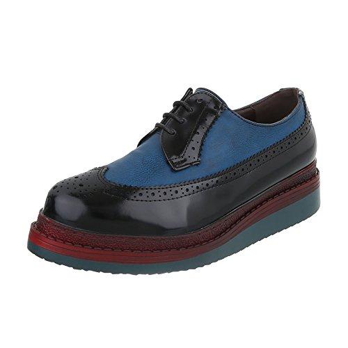 Ital-Design - Zapatos Planos con Cordones Mujer negro azul