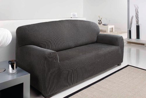 1 SEATER - Easy Stretch Elastic Fabric SOFA/SETTEE SLIP COVER Grey 'Sofa Huggers' by VICEROY BEDDING