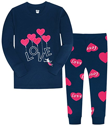 Pj Clothes Heart - Little Girls Clothes Heart Cotton Sleep Pajamas Cartoon Sets Size 10