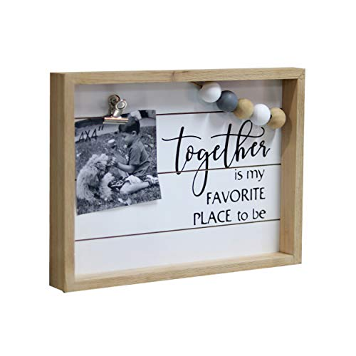 Paris Loft Together is My Favorite Place to Be Freestanding Wood Frame Sign Wall Decor Wood Picture Frames with Metal Clips and Colorful Wood Beads 12x1.5x8.8''
