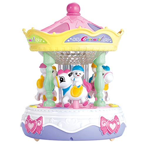 Auvem Carousel Music Box, Romantic Merry-Go-Round Horse Music Box, Puzzle Sound and Light Baby Story Learning Machine for Girls Christmas Birthday Gift (Multicolor)