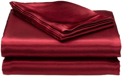 Divatex Home Fashions Royal Opulance Satin Queen Sheet Set, Burgundy (Fitted Divatex Sheet)
