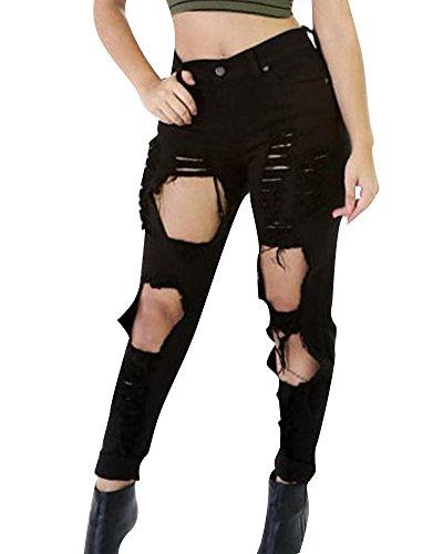 Jeans Vaqueros Skinny Mujer Lápiz Bootcut negro Perfectly Slimming Rasgados tIPYA