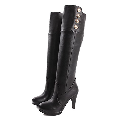Round Pull Heels Black WeiPoot Toe Material On Closed Soft Solid Women's High Boots xzxwqIB