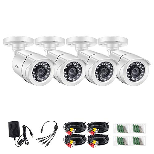 ZOSI 4 Pack 720p Bullet Security Cameras (Hybrid 4-in-1 HD-CVI/TVI/AHD/960H Analog CVBS),1280TVL Day Night Weatherproof Indoor/Outdoor Bullet Camera HD, Night Vision Up to 65FT(20M)