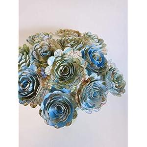 "Scalloped World Atlas Roses, 1.5"" Paper Flowers on Stems, One Dozen, Travel Theme Birthday Party Decor, Wedding Decor, Bridal Shower Centerpiece, Map Flowers 3"