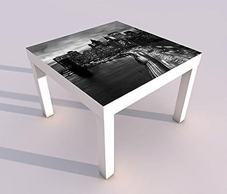 Diseño - Mesa con UV Impresión 55x55cm Negro Blanco Paisaje Urbano ...