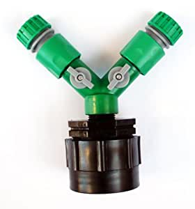 """HEAVY DUTY IBC ADAPTER (2"""" - S60 - 60mm) to TWIN 1/2"""" (13mm) Snap on Push Fit Hose Connector with ON/OFF Taps. C/w Female Hose Connector"""
