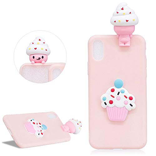 (DasKAn Cartoon 3D Ice Cream Silicone Case for iPhone Xs Max (6.5''),Candy Color Cute Cupcake Design Ultra Slim Matte Soft Rubber Back Cover Shockproof Flexible Gel TPU Protective Case,Light Pink#1)