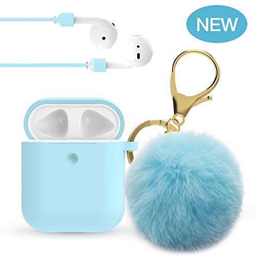 Airpods Case - 2019 Upgrade OULUQOI for Airpods Silicone Case Cover with Cute Pom Pom Keychain Compatible with Apple Airpods 2 &1 (Front LED Visible)