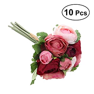BESTOYARD 10pcs Artificial Flowers Camellia Bridal Wedding Bouquet Bridesmaid Bride Toss Bouquet Home Decoration (Wine & Pink) 52