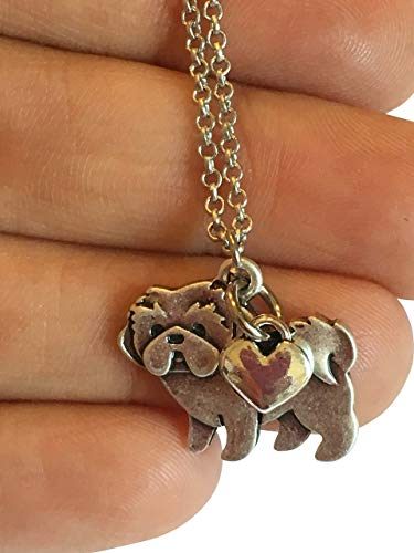 Shih Tzu Charm Necklace, Shihtzu Pet Dog Lover Gift, Silver Metal with Heart Charm on a Chain, Ladies I Love Shitzu Short ()