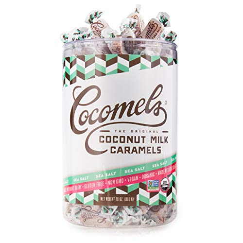 Cocomels Coconut Milk Caramels - Organic, Kosher, NON-GMO, Vegan - Made Without Dairy - SEA SALT 28 oz Tub (100+ pieces)