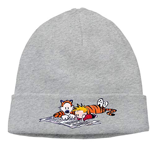 - AlbertV Calvin and Hobbes Cuffed Beanie Hat Skull Knit Hat Skull Cap for Men and Women Gray
