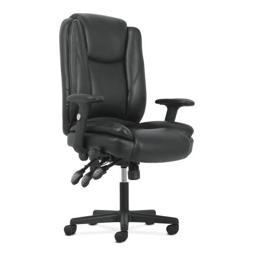basyx by HON High-Back Leather Office/Computer Chair - Ergonomic Adjustable Swivel Chair with Lumbar Support (HVST331) by HON