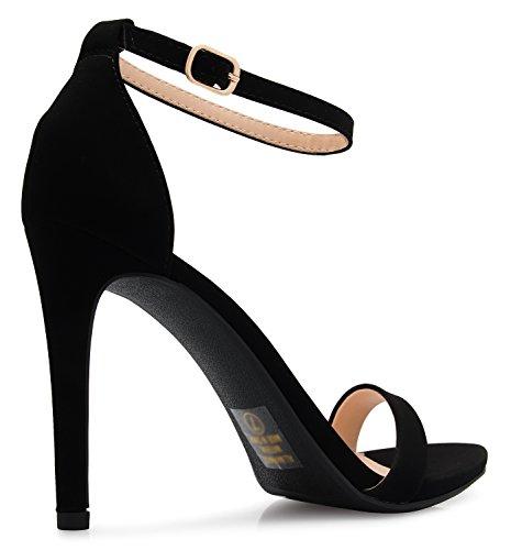 Olivia Nubuck Tallone Sandali Della Dall'alto Delle Donne Cinghia Nero Classici K Caviglia Vestito rqTwPH6r