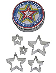 R&M International 1988 Star Cookie Cutters, Assorted Sizes, 5-Piece Set in Gift Tin