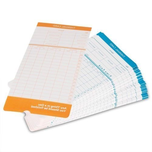 Payroll Time Recorder - 100x Monthly Time Clock Cards for Attendance Payroll Recorder Timecards Thermal