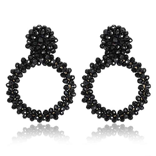 - ZITULRY Beads Dangle Hoop Earrings Statement Bohemian Crystal Large Dangle Earrings Stud Wrapped Wire Woven Beadwork Drop Earrings for Women (Black)