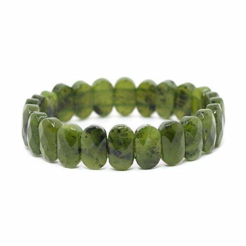Justinstones Natural Canadian Nephrite Gemstone Faceted 14mm Oval Beads Stretch Bracelet 7