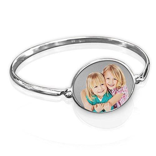 Charm Oval Bracelet 14k (Oval Photo Engraved Bangle Bracelet - 14k Yellow Gold - 8 Inch)