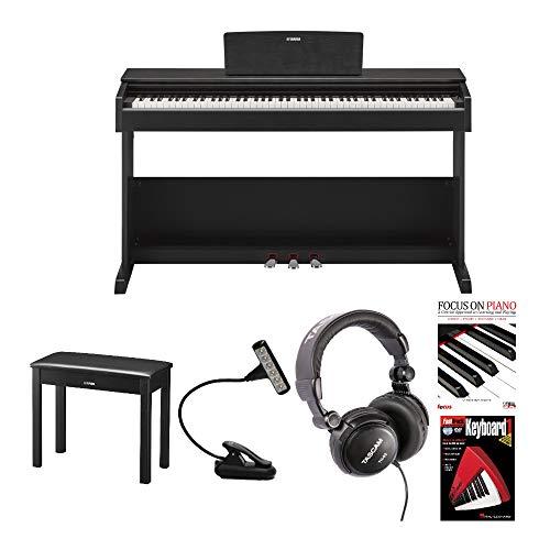 Yamaha YDP-103 Arius Series Digital Console Piano with Bench (Black Walnut) bundle with LED Music Light, Studio Headphones, Focus Piano Book/CD & DVD (5 Items)