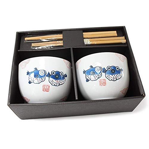 ラーメンボウル 2 Porcelain Ceramic Bowls w Chopsticks Holder Japanese Puff Fish for Soup Noodle Porridge Menudo Ramen Udon Pasta Cereal Ice cream Pho Rice Instant Noodle ~ F15694