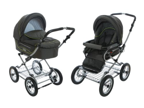 Roan Kortina Classic Pram Stroller 2-in-1 with Bassinet and Seat - Anthracite - Green by Roan