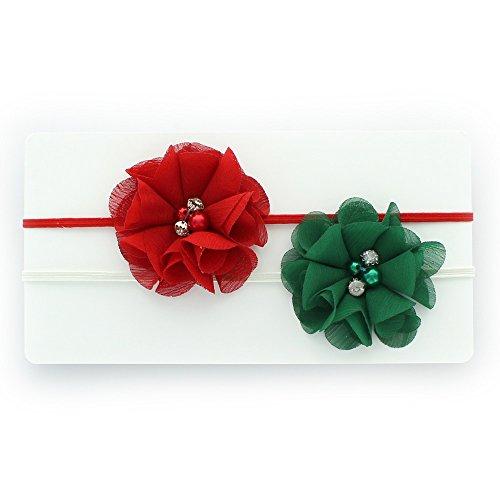 [My Lello Infant Baby/Toddler Girls Flower Headbands Chiffon Beaded Flower Skinny Elastic 2 pack (Red/Green)] (Red Girls Hair Band)