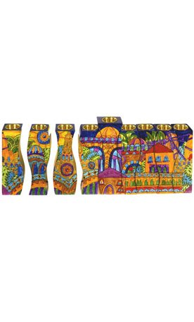 Fitted Hand Painted Jerusalem Hanukkah Menorah for Candle use - By Yair Emanuel