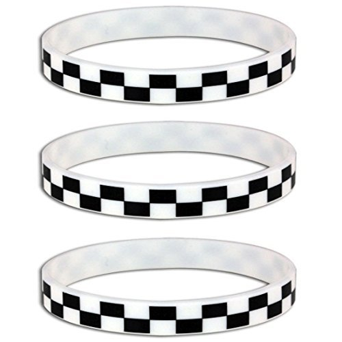 Cars Wristbands (Silicone Black White Checkered Flag Racing Wristband Bracelets (12 Pack))