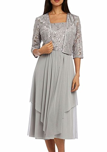 R&M Richards RM Richards Women Floral Lace Bolero Jacket Dress - Mother Of The Bride Dresses (10, Silver)