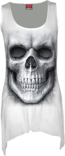Spiral - Womens - SOLEMN SKULL - Goth Bottom Vest Dress White - (White Goth Dress)