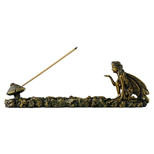 Top Collection Fairy and Mushroom Incense Holder-Hand Painted Mythical Creature with Bronze Finish Look - 10-Inch Collectible Figurine
