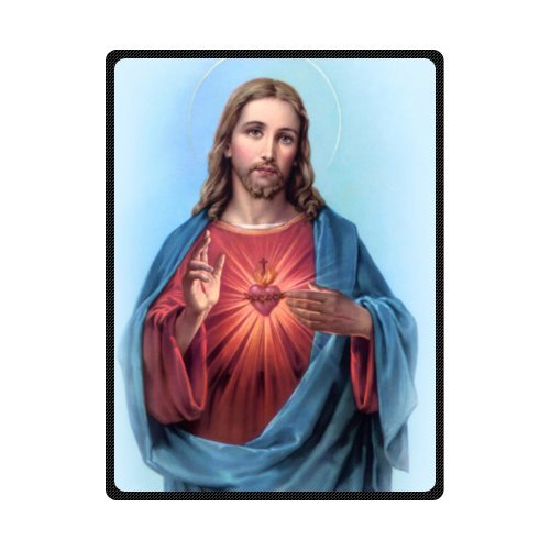 Jesus Blessing Christian Theme Soft Fleece Blankets and Throws, Travel Blanket - 58 by 80 Inch by WECE