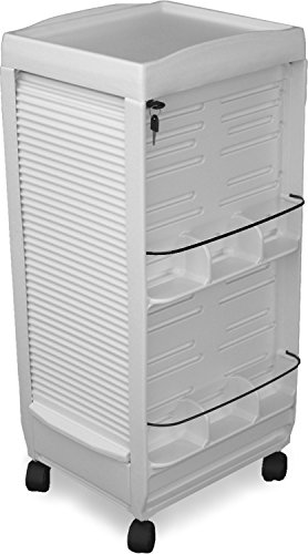 - C180E Medical Dental Physician White Lockable Roll-About Utility Cart Made in USA