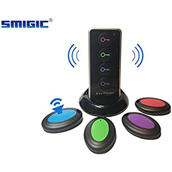 Smigic Wireless RF Item Locator/Key Finder with LED flashlight and base support. 1 RF Transmitter/Remote Control and 4 Receivers.