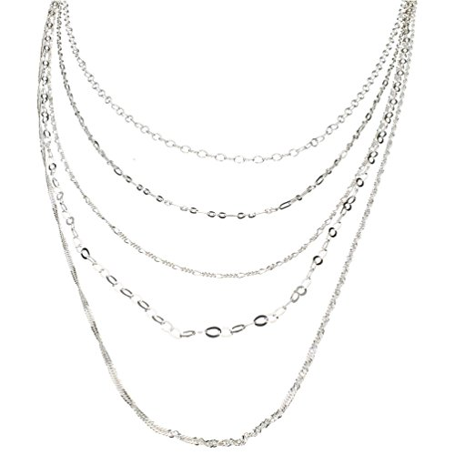 (Sterling Silver Multi-strand Long Layered Chain Necklace Italy, 36