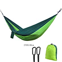 Portable Travel 2-4 Person Camping Parachute Nylon Fabric Hammock Swing Ultra Lightweight Max.load of 660lbs with free tree straps (Light Green&Dark Green, 270X140cm)