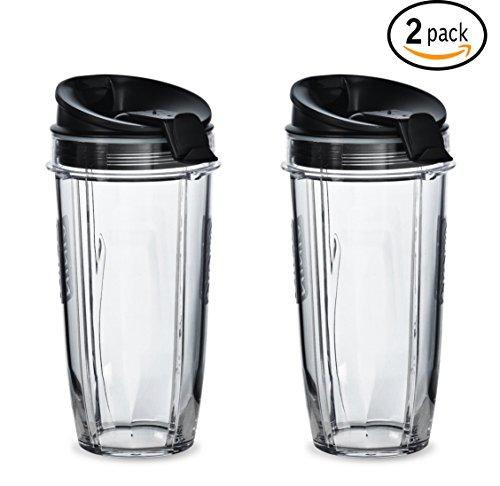 Nutri Ninja 24 oz Tritan Cups with Sip & Seal Lids. Compatible with BL480, BL490, BL640, & BL680 Auto IQ Series Blenders (Pack of 2) (Ninja Blender Cups With Lids compare prices)