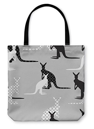Gear New Shoulder Tote Hand Bag, Made Of Kangaroo In Black And White Colors, 18x18, (Kangaroo White Handbag)
