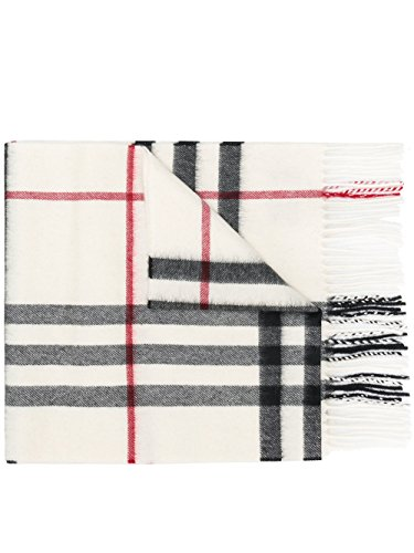 Burberry White Giant Check 100% Cashmere Scarf