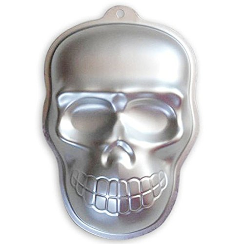 WJSYSHOP 10 Inch Skull Shaped Aluminum 3D Cake Mold Baking Mould Tin Cake Pan for Halloween Party -