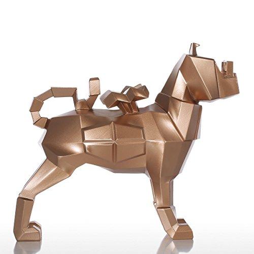 Tomfeel Glasses Dog Gold Resin Sculpture Fiberglass Puppy Statue Ornament Art Figurine, Standing ()
