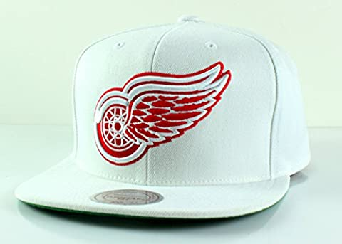 NHL Mitchell & Ness Vintage Wool Solid Snapback Hat (Adjustable, Detroit Red Wings - White)