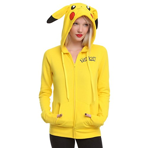 Womens I Am Pikachu Pokemon Hoodie (I Am Pikachu Girls Hoodie-Junior X-Large [JXL])