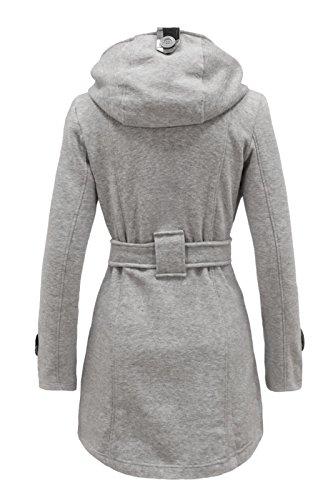 ceinture double Gris veste manteau capuche femmes Argent COUTURE FEMMES boutonnage cexi polaire hiver avec BapYxw4q