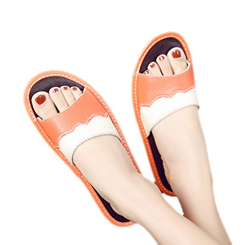 TELLW Couples Cowhide Home Indoor Floor Leather Slippers Summer Anti-Slip Home Cool Slippers Women Orange VFfnSe8f1